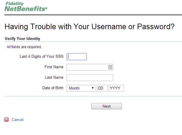 Fidelity NetBenefits password reset form uses SSN, first name, last name, and birthdate.