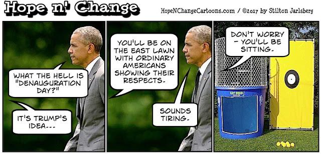 obama, obama jokes, political, humor, cartoon, conservative, hope n' change, hope and change, stilton jarlsberg, denauguration, inauguration, dunking booth