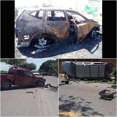 Terrible enfrentamiento en Reynosa Sicarios vs Federales abaten a 6 y se calcinan 3 así quedaron las camionetas de la mañana