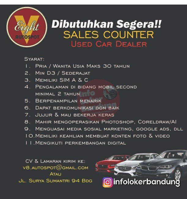 Lowongan Kerja Sales Counter V8 Autospot Bandung Februari 2019