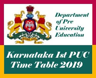 1st PUC Time table 2019 Karnataka, Karnataka PUC Time table 2019