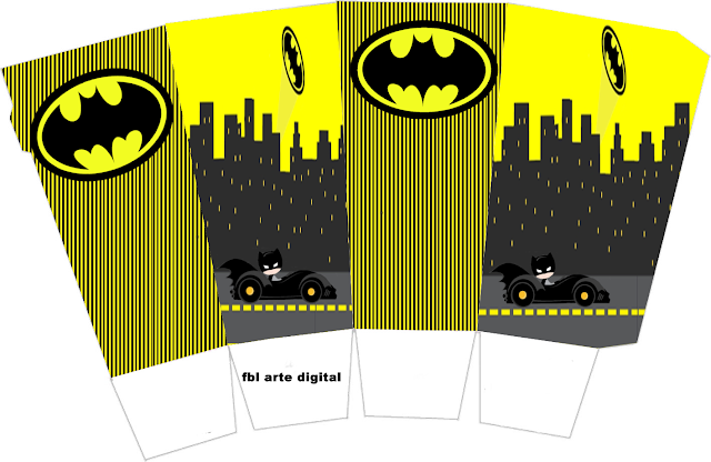 Batman in Black and Yellow, Free Printable Pop Corn Box.