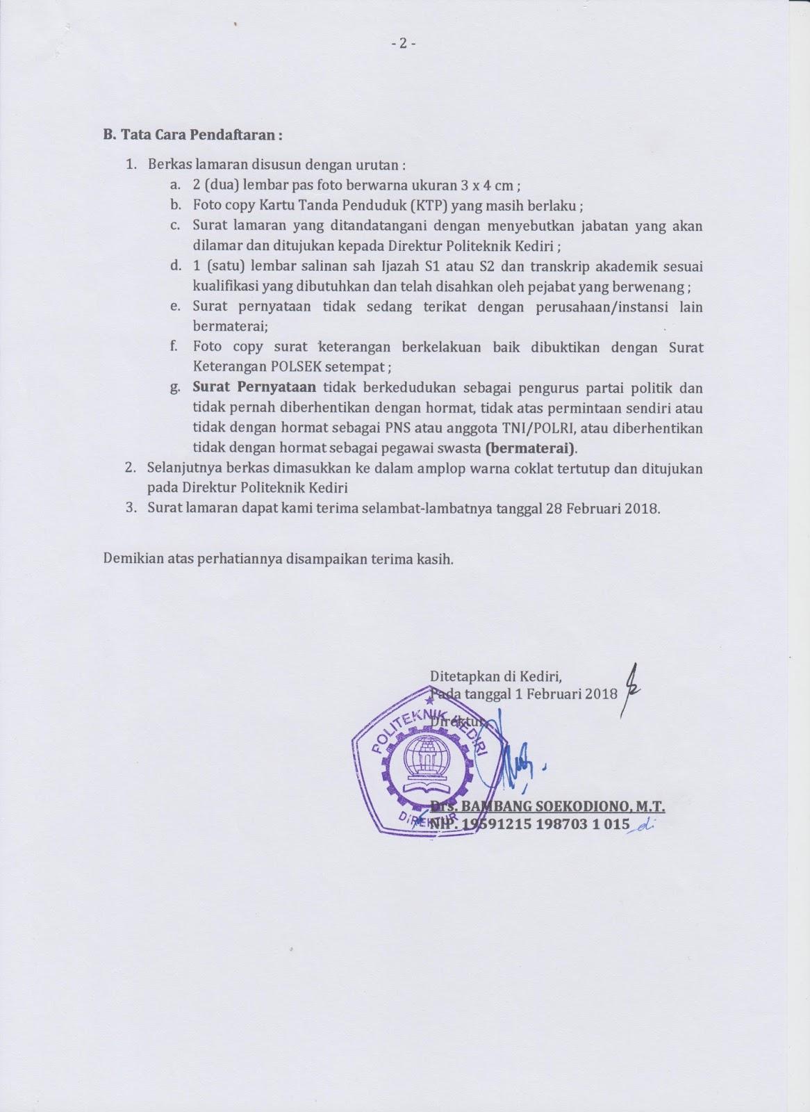 lowongan Dosen perawatan dan perbaikan mesin Akuntansi & Teknik Informatika Politeknik Kediri
