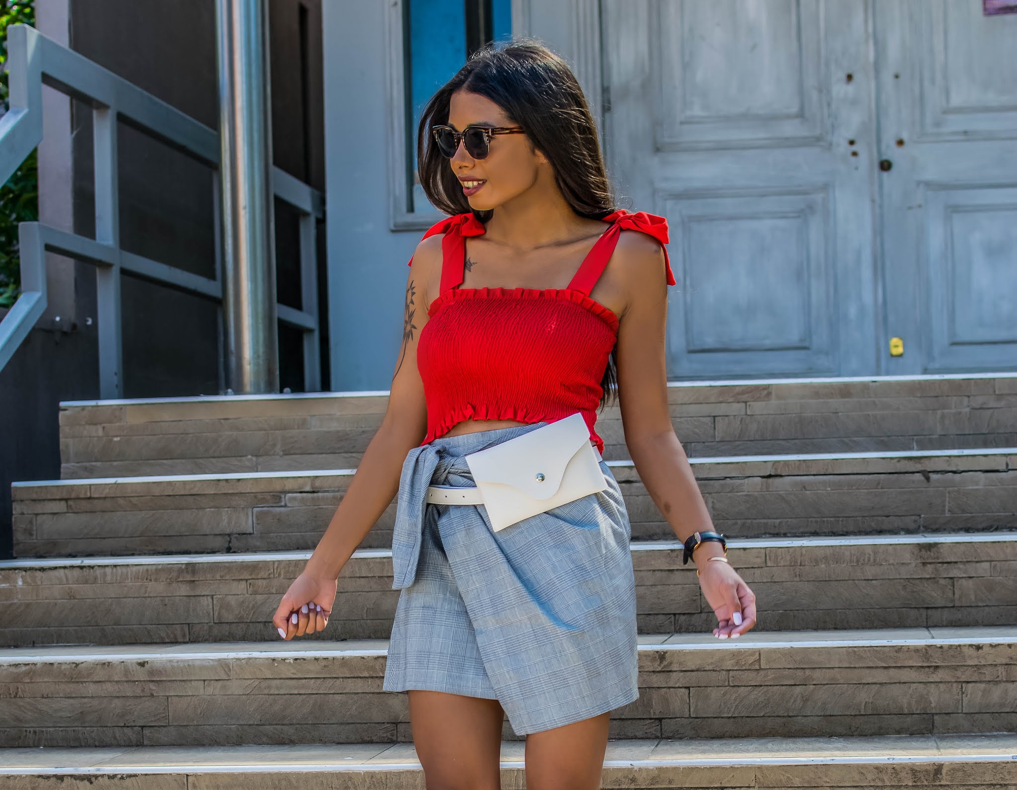plaid skirt outfit inspiration for summer
