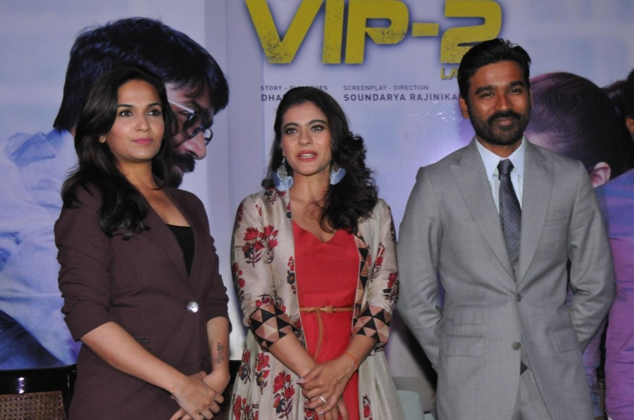 Actress Kajol and Dhanush at VIP 2 Promotion