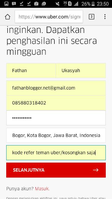 Cara Daftar UBER Driver Motor dan Mobil - Form Pendaftaran Uber Driver Motor dan Mobil