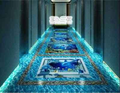 3d flooring designs for hotel hallway