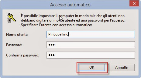 Inserisci la password del tuo account - Windows 8.1