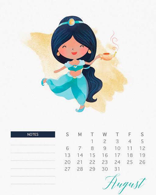 Calendario 2017 de las Princesas Disney para Imprimir Gratis  Agosto.