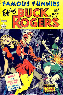 Frank Frazetta Buck Rogers 1950s golden age science fiction comic book cover / Famous Funnies #209