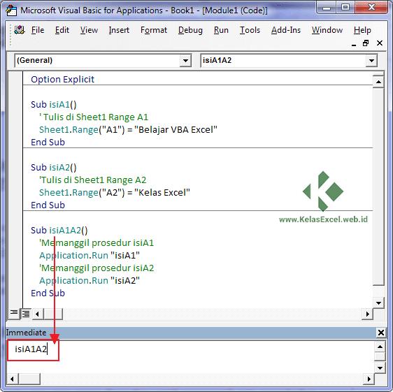 Cara memanggil sub procedure dari Immediate Window VBE