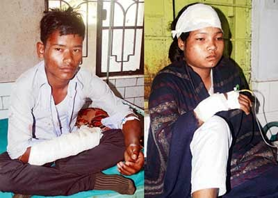 Injured Madhyamik examinees Amal Adhikary and Babita Burman, at Jalpaiguri district hospital