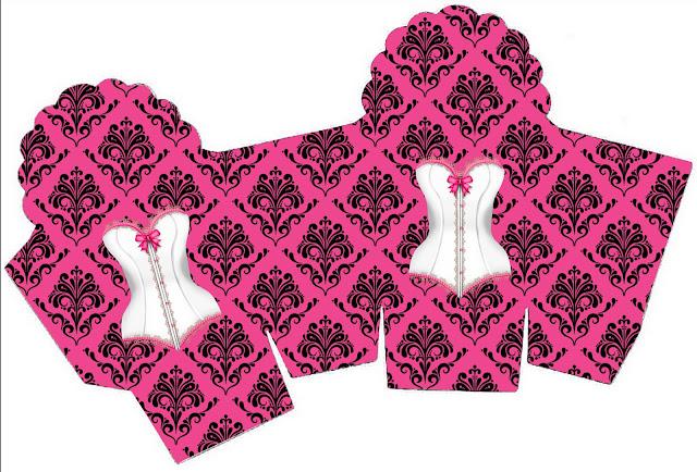 Caja para Cupcakes o Golosinas de Lencería en Rosa.