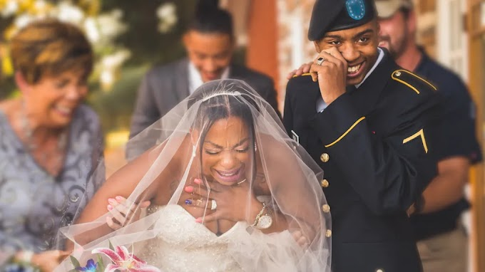 Soldier gives mom the best gift on her wedding day