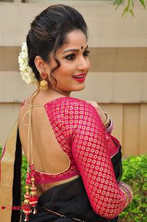 Actress Madhavi Latha Stills in Saree at Anushtanam Movie Audio Launch  0060.JPG
