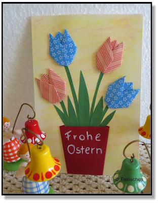 Osterkarte, Tulpen aus Papier falten