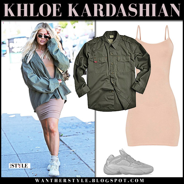 Khloe Kardashian in beige mini dress pretty little thing and khaki canvas jacket rothco street fashion july 23