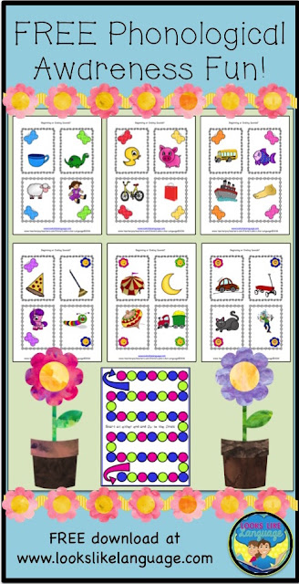 Get the FREE phonological awareness printable game from Looks Like Language now!