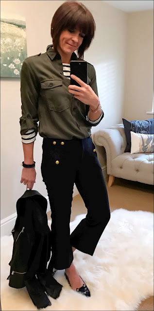 My Midlife Fashion, zara military shirt, hm breton, j crew cropped sailor pants, charlotte olympia kitty slipper shoes, massimo dutti leather biker jacket