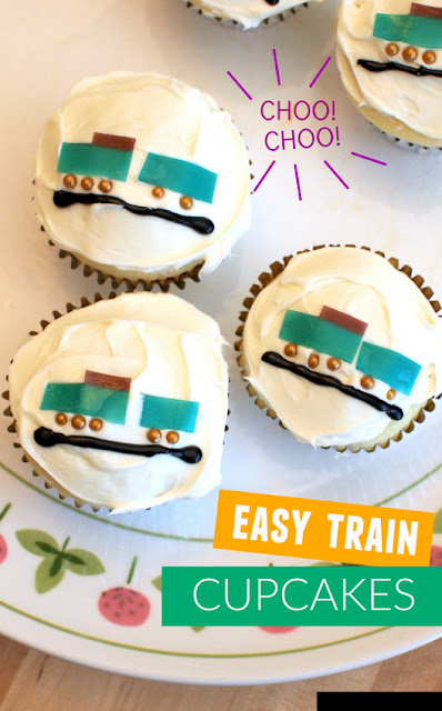 Super Easy Train Cupcakes- Decorated with fruit roll ups!