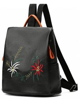 zaful black backpack, zaful crni ruksak, cvjetni motivi, vintage, floral