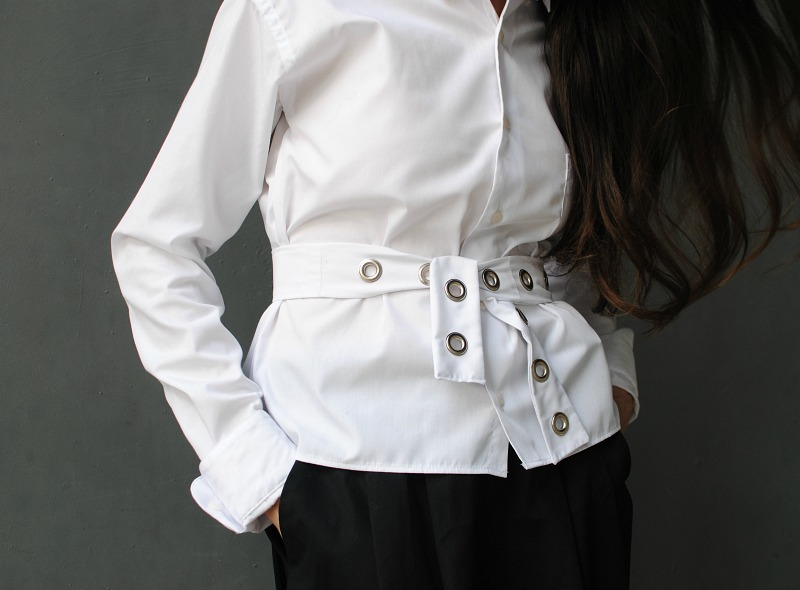 Trash To Couture: DIY: Men's Shirt Upcycle with Grommet Sash