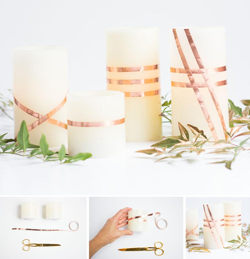 diy velas con washitape para decorar acción de gracias o thanksgiving fácil y económico