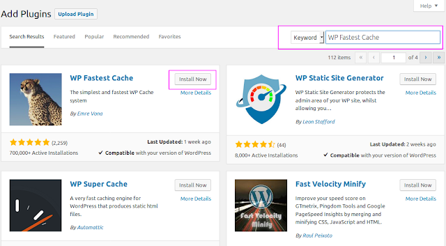 Cara Mempercepat Wordpress Dengan Plugin WP Fastest Cache
