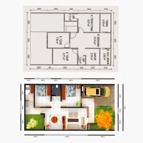gambar denah rumah type 56 3