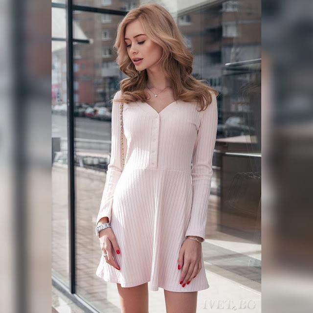 Μακρυμάνικο εκρού φόρεμα ALENNA