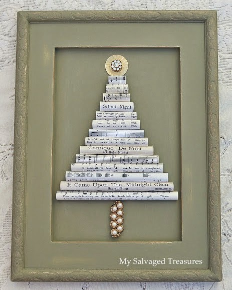 use vintage sheet music to create a framed Christmas tree