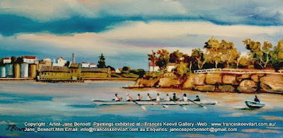 Plein air oil painting of Ballast Point, from East Darling Harbour Wharves  painted by industrial and marine heritage artist Jane Bennett