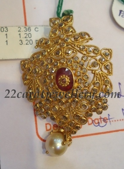 916 Gold Uncut Diamond Pendants Jewellery Designs