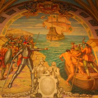 Pintura Junto ao Mausoléu de Pizarro, na Basílica Catedral de Lima