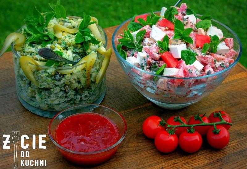 grill, salatka do grilla, arbuz, salatka z arbuza, przyjecie w ogrodzie, blog, zycie od kuchni