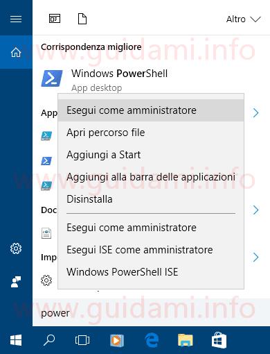 Ricerca Windows 10 eseguire PowerShell come amministratore