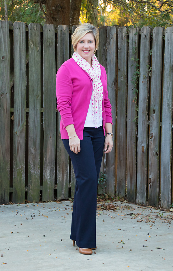 Navy and hot pink bright outfit for the office