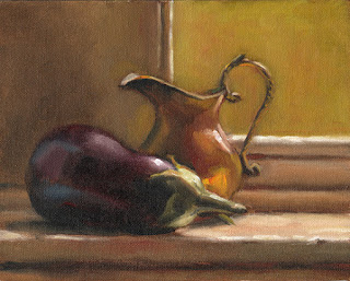 Oil painting of an eggplant beside a copper jug on a windowsill.