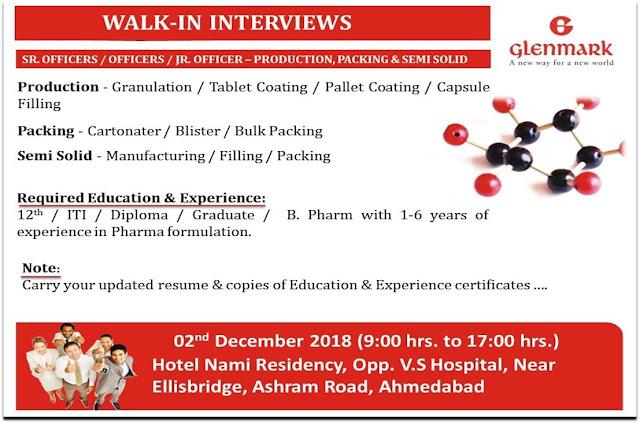 Glenmark Pharmaceuticals Ltd. Walk In Interview For 12th, ITI, Diploma, B.Pharm at 2 Dec.