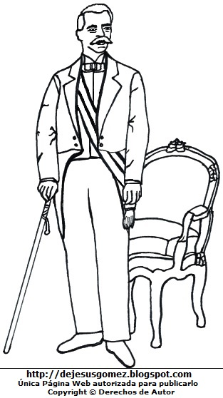 Ilustración de Eduardo López de Romaña de cuerpo entero para colorear o pintar. Dibujo de Eduardo López de Romaña hecho por Jesus Gómez