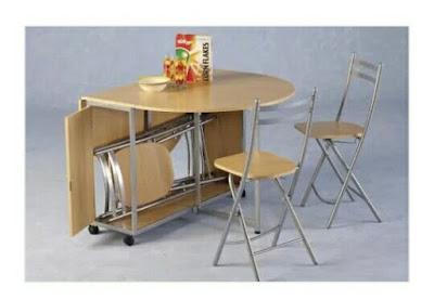 Meja makan Lipat Cantik serbaguna