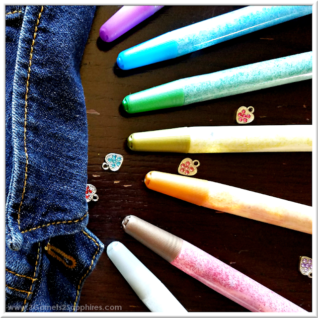 Decorate denim for fall with Glitter Fabric Paint Pens  |  3 Garnets & 2 Sapphires