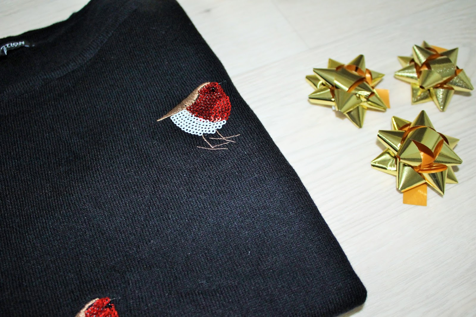 Black Christmas Jumper with Sequinned Robins from Debenhams