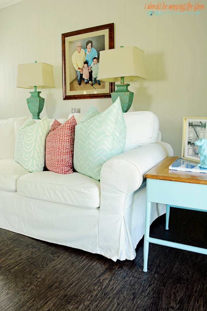 Check out this vintage eclectic family room full of color and quirky details.