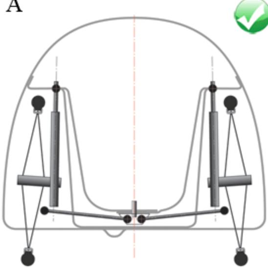 Velocivelo Velomobile: Velomobile front beam suspension design