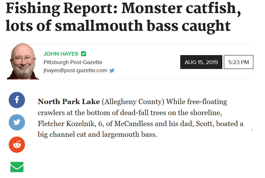 Pittsburgh-Post Gazette Fishing Report - August 15, 2019