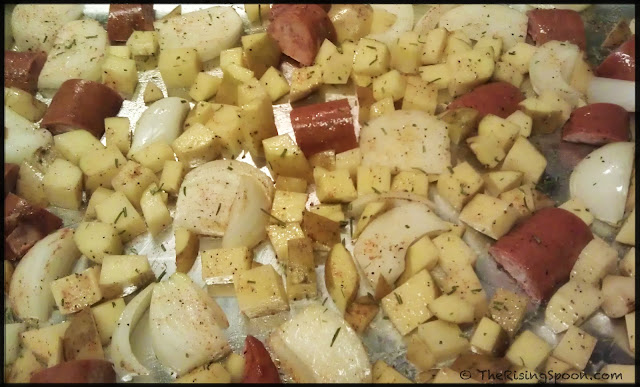Roasted Kielbasa Sausage, Potatoes and Onions Prepped on the Baking Sheet