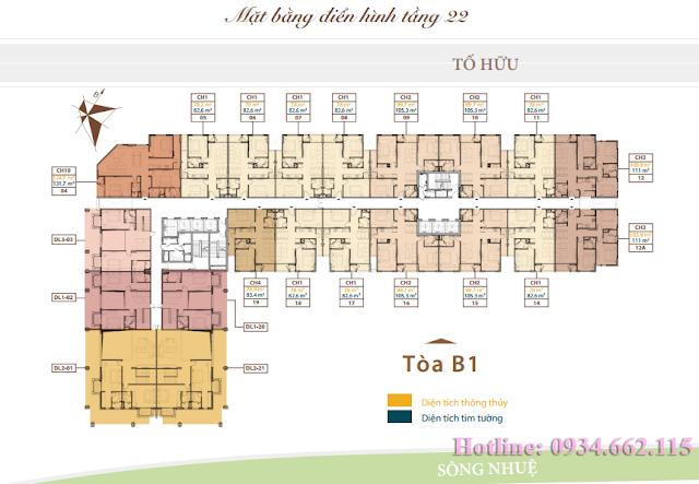 Mặt bằng tầng căn hộ điển hình tầng 22