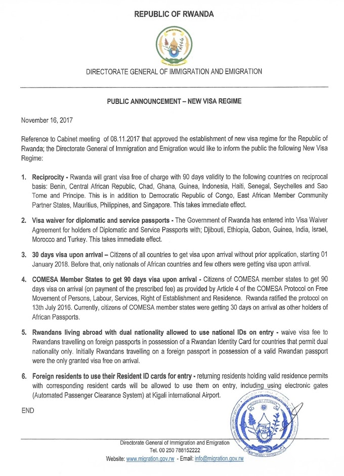 Rwanda to grant visa to citizens of all countries from next year