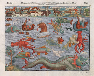 Plate ca. 1544 depicting various sea monsters; compiled from the Carta Marina.
